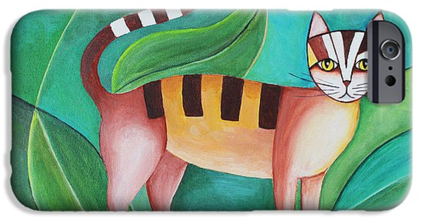 House Pet Paintings iPhone Cases - Cat in the Tree iPhone Case by Jutta Maria Pusl