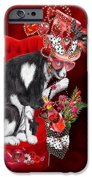 Hat Art iPhone Cases - Cat In The Valentine Steam Punk Hat iPhone Case by Carol Cavalaris