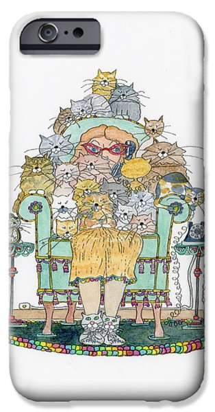 Cat Lady - In Chair iPhone Case by Mag Pringle Gire