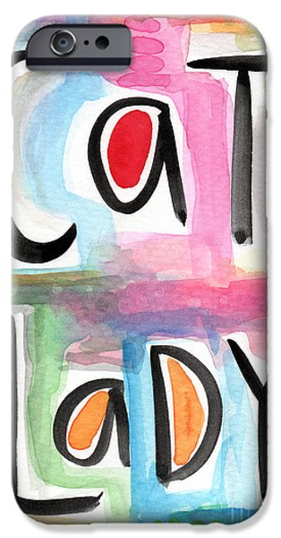 Lady Mixed Media iPhone Cases - Cat Lady iPhone Case by Linda Woods