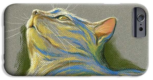 Stripes Pastels iPhone Cases - Cat Looking up to Heaven iPhone Case by MM Anderson