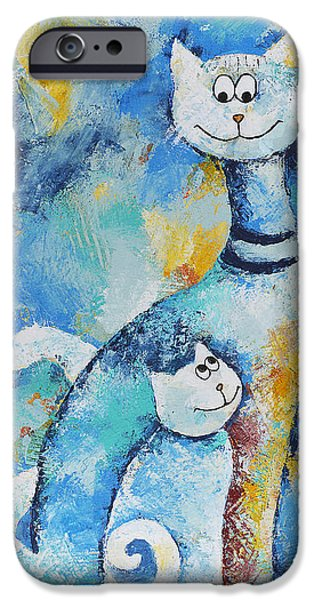 House Pet Paintings iPhone Cases - Cat Mommy iPhone Case by Jutta Maria Pusl