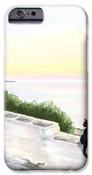 Sunset Seascape iPhone Cases - Cat on the port iPhone Case by Veronica Minozzi