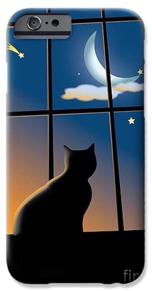 White Frame House iPhone Cases - Cat On The Window iPhone Case by Aleksey Tugolukov