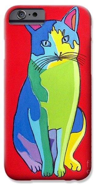 Painter Photo Mixed Media iPhone Cases - Cat Pop Art Portrait iPhone Case by Venus