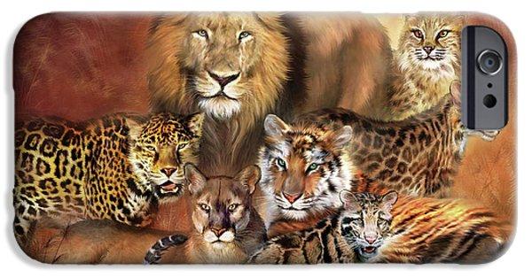 Tiger Art iPhone Cases - Cat Power iPhone Case by Carol Cavalaris