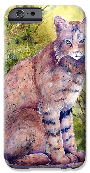 Bobcats Paintings iPhone Cases - Cat-r-Walling iPhone Case by Renee Chastant