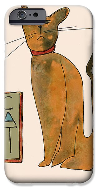 Printmaking Paintings iPhone Cases - Cat.  Seated orange and gray with straight wiskers. iPhone Case by Cathy Peterson