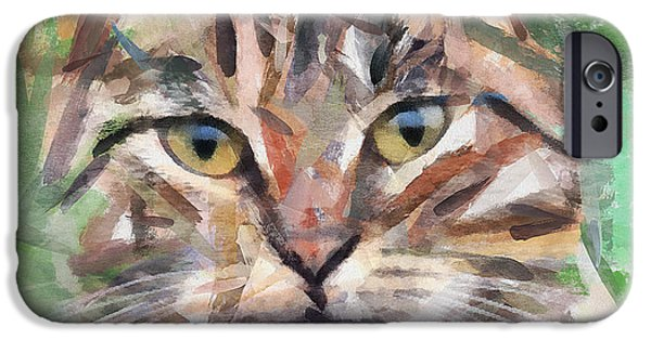 House Pet Digital Art iPhone Cases - Cat Selfy iPhone Case by Yury Malkov
