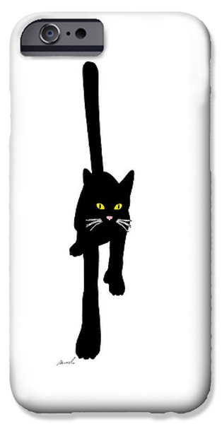 House Pet Digital Art iPhone Cases - Cat Stepping Forward iPhone Case by The Art of Marsha Charlebois