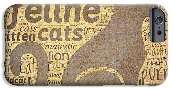 Graphic Design iPhone Cases - Cat Typography iPhone Case by Terry Fleckney
