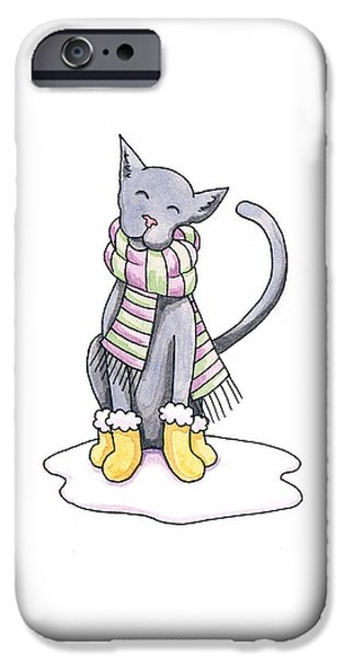 Cat Drawings iPhone Cases - Cat Wearing Scarf iPhone Case by Christy Beckwith