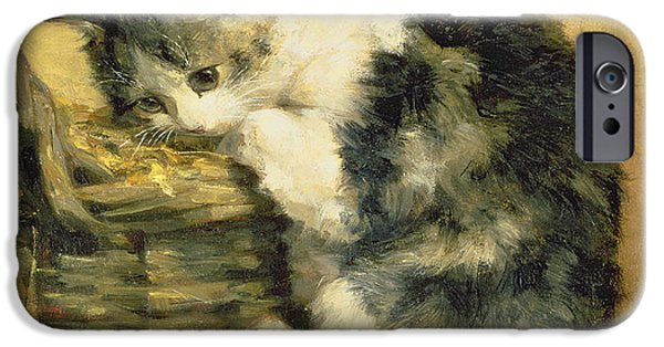 Cat Prints iPhone Cases - Cat with a Basket iPhone Case by Charles Van Den Eycken