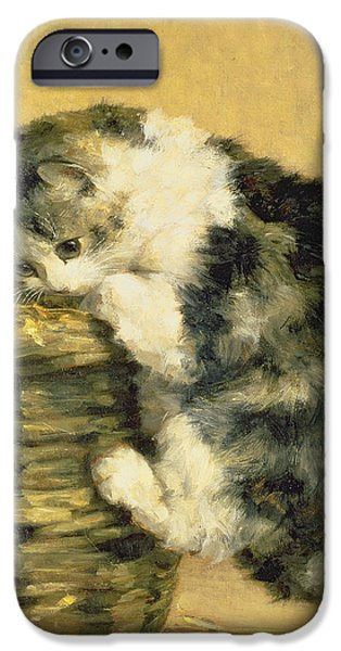 Cat with a Basket iPhone Case by Charles Van Den Eycken