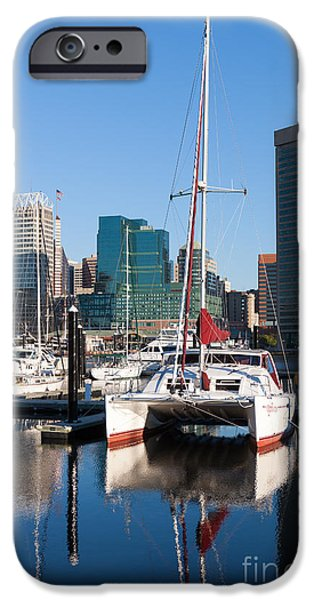 Inner World iPhone Cases - Catamaran in Baltimore Inner Harbor I iPhone Case by Clarence Holmes