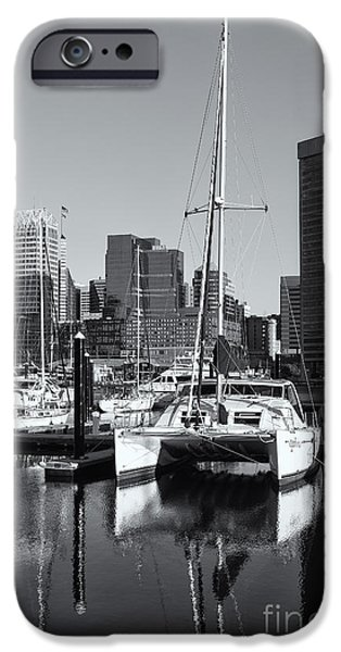 Inner World iPhone Cases - Catamaran in Baltimore Inner Harbor II iPhone Case by Clarence Holmes