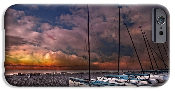 Sailboats iPhone Cases - Catamarans at Sunrise iPhone Case by Debra and Dave Vanderlaan