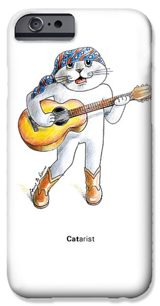 Music Pastels iPhone Cases - CATarist iPhone Case by Louise McClain Reeves