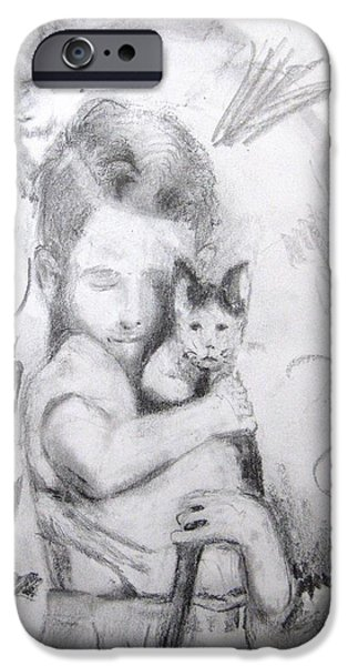 Arkansas Drawings iPhone Cases - Catboy and Batboy iPhone Case by Ronald Oliver