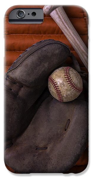 Mitt iPhone Cases - Catchers Mitt and Baseball iPhone Case by Garry Gay