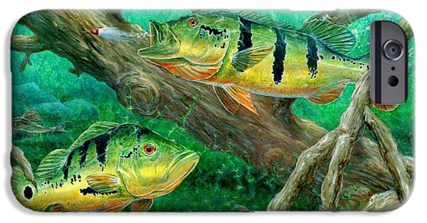 Terry Fox iPhone Cases - Catching Peacock Bass - Pavon iPhone Case by Terry Fox