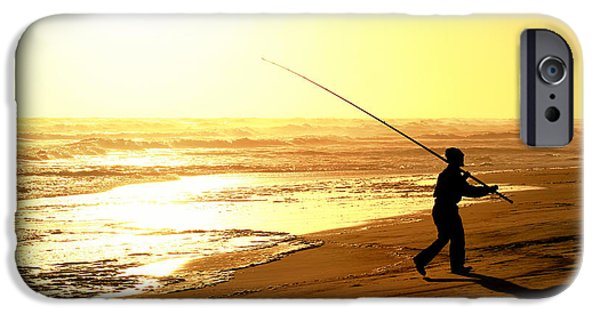 Angling Glass Art iPhone Cases - Catching the last rays... iPhone Case by A Rey