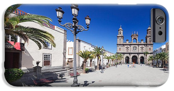 Santa iPhone Cases - Catedral De Santa Ana At The Plaza De iPhone Case by Panoramic Images