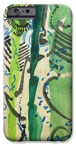 Printmaking iPhone Cases - Caterpillars in a Marching Jazz Band iPhone Case by Cathy Peterson