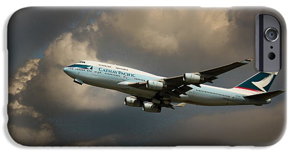 Retraction iPhone Cases - Cathay Pacific B-747 iPhone Case by Rene Triay Photography