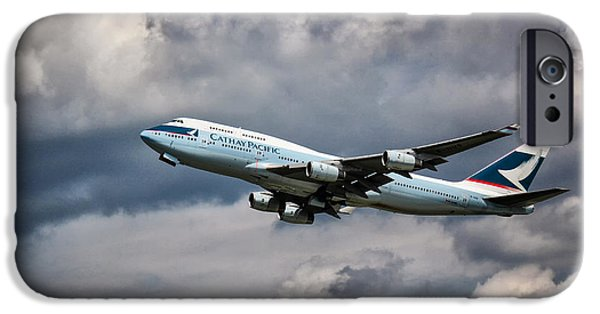 Retraction iPhone Cases - Cathay Pacific Boeing 747-400 iPhone Case by Rene Triay Photography