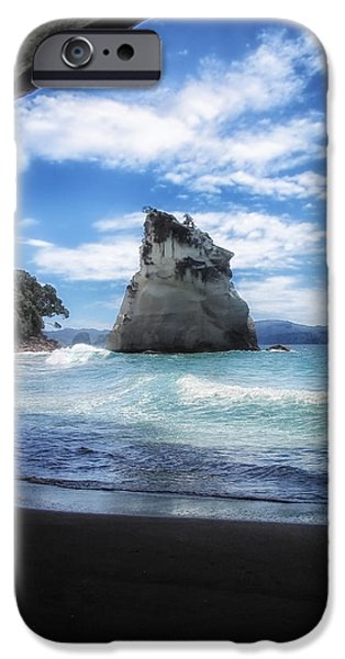 Cathedral Rock iPhone Cases - Cathedral Cove in New Zealand iPhone Case by Mountain Dreams