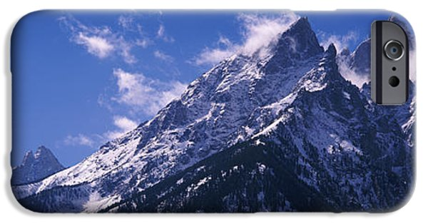 Snowy Day iPhone Cases - Cathedral Group Grand Teton National iPhone Case by Panoramic Images