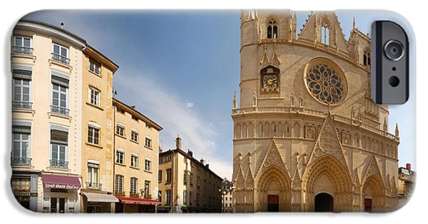 Rhone Alpes iPhone Cases - Cathedral In A City, St. Jean iPhone Case by Panoramic Images