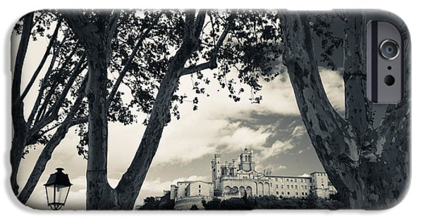 Languedoc iPhone Cases - Cathedral In A Town, Cathedrale iPhone Case by Panoramic Images