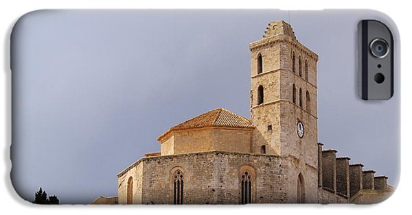 Dalt iPhone Cases - Cathedral in Ibiza Town iPhone Case by Karol Kozlowski