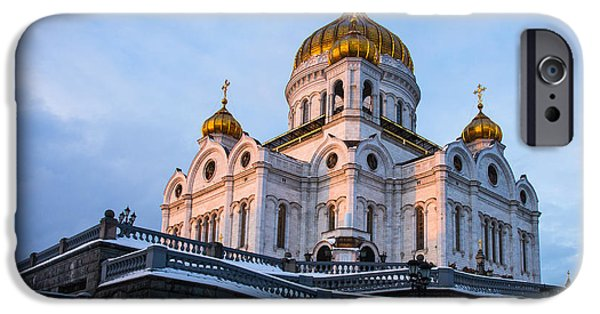 Russian Cross iPhone Cases - Cathedral of Christ the Savior at winter sunset - Featured 2 iPhone Case by Alexander Senin