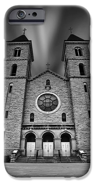 Crucifix iPhone Cases - Cathedral on the Plains iPhone Case by Thomas Zimmerman