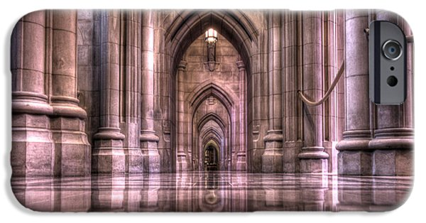 Religious iPhone Cases - Cathedral Reflections iPhone Case by Shelley Neff