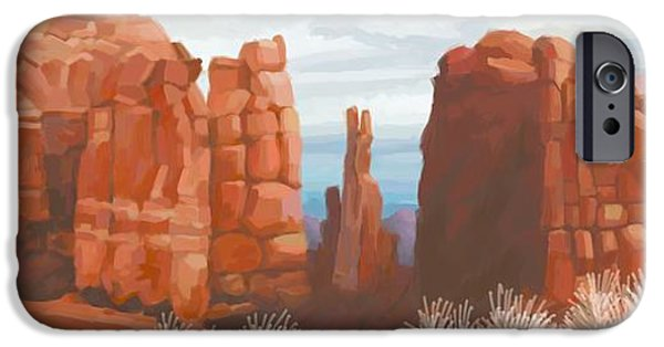 Cathedral Rock iPhone Cases - Cathedral Rock in Winter iPhone Case by John Little