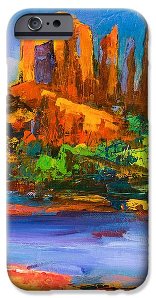 Sedona Paintings iPhone Cases - Cathedral Rock Afternoon iPhone Case by Elise Palmigiani