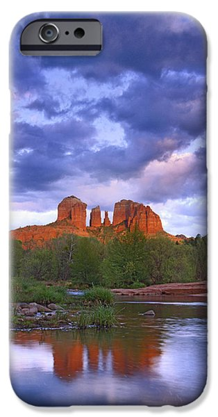 Oak Creek iPhone Cases - Cathedral Rock And Oak Creek At Red iPhone Case by Tim Fitzharris