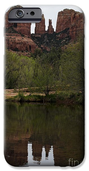 Cathedral Rock iPhone Cases - Cathedral Rock and Reflection iPhone Case by Dave Gordon
