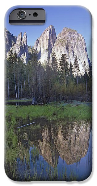 Cathedral Rock iPhone Cases - Cathedral Rock And The Merced River iPhone Case by Tim Fitzharris