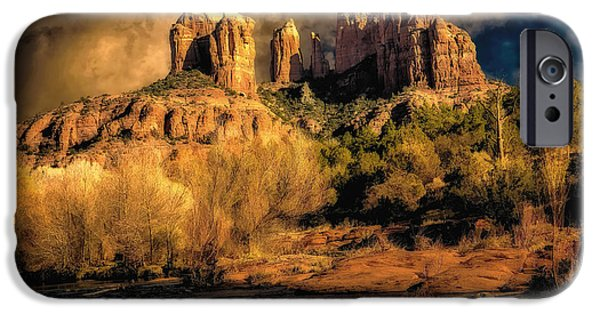 Oak Creek iPhone Cases - Cathedral Rock Before the Rains Came iPhone Case by Jon Burch Photography