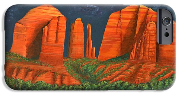 Oak Creek Paintings iPhone Cases - Cathedral Rock iPhone Case by David Land