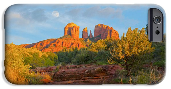 Cathedral Rock iPhone Cases - Cathedral Rock Moon iPhone Case by Brian Lambert