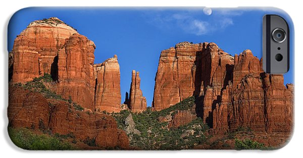 Sedona iPhone Cases - Cathedral Rock Moon Rise Color iPhone Case by Dave Dilli