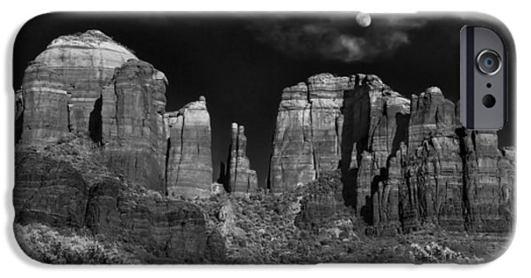 Red Rock iPhone Cases - Cathedral Rock Moon Rise iPhone Case by Dave Dilli