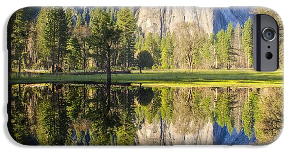 Cathedral Rock iPhone Cases - Cathedral Rock Panorama Reflection iPhone Case by Jim Dollar