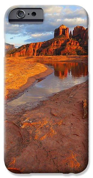 Cathedral Rock iPhone Cases - Cathedral Rock Reflection iPhone Case by Alexey Stiop
